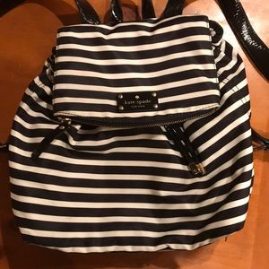 Black and White Stripe Kate Spade Backpack